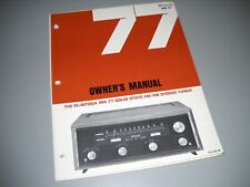 McIntosh MR-77, OWNERS MANUAL. FROM A McIntosh 3 RING BINDER