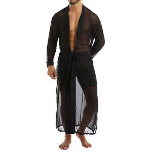 Men Sexy See-Through Long Shirt Mesh Transparent Open Front Cloak Top Nightwear