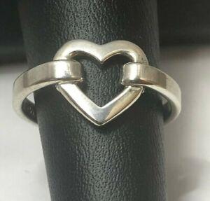 Tiffany & Co. 925 Sterling Silver Open Heart Ring Size 6