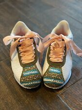 New listing womens shoes size 5 white tennis shoes with pink silk laces and crochet accents