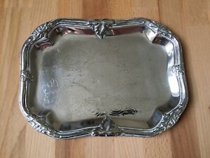 Small Antique Christofle Silver Plated Tray with Vine Decoration to Border 235mm