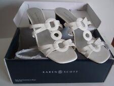 KAREN SCOTT Women's White DAWSON Slip On Sandals Shoes Size 7 1/2 M, New In Box