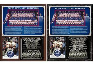 2011 New York Football Giants Super Bowl XLVI Champions Photo Card Plaque