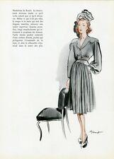 """""""MADELEINE DE RAUCH"""" Annonce originale entoilée FORMES ET COULEURS 1943 BRENOT"""