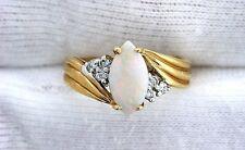14Kt  Yellow Gold Australian Opal Diamond Gem Stone Gemstone Ladies Ring Size 7