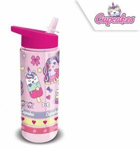 Trinkflasche Einhorn Cupcakes Strohhalm Kinderflasche Kinder Armbänder 500ml