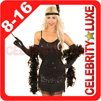 Ladies 20s 1920s Black Flapper Gangster Gatsby Girl Fancy Dress Sequin Costume