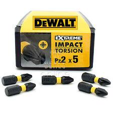 DeWALT PZ2 Extreme Impact Torsion Pozi 2 Screwdriver Bits 25mm x5 Bits DT7387T
