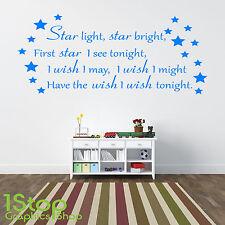STAR LIGHT STAR BRIGHT WALL STICKER QUOTE - KIDS BOYS GIRLS WALL ART DECAL X192