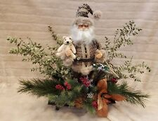 "Handmade Vintage 24"" Christmas Santa Claus Doll Statue Table Setting Teddy Bear"