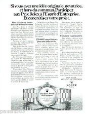 PUBLICITE ADVERTISING 016  1982  ROLEX  montres The Rolex Awards for Entreprise