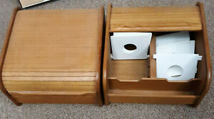 Kalmar Designs Teak Wood Floppy Disc Storage Box with Roll Top, 2 Units