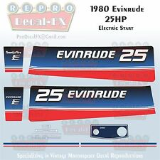 1980 Evinrude 25 HP Electric Start Outboard Repro 10 Pc Marine Vinyl Decal 25ECS
