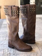 Sendra Brown Leather Studded Riding Boots 9177 Women's Size 5.5