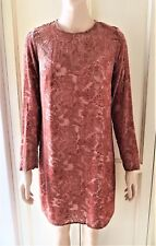 PIPER Power Paisley Dress Velvet Lace Boho, Long Sleeve with Slip, Antique Pink