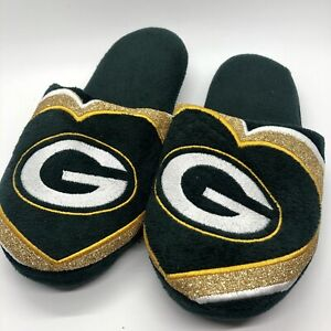 NFL Green Bay Packers Ladies Plush Slip On Slippers Sparkly Embroidered Small