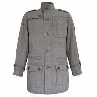 Lee Cooper Wool Coat Mens Gents Mac Trench Top Jacket Funnel Neck Zip Zipped