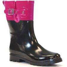 WESTERN CHIEF Top Pop Black Pink Rubber Mid Rain Boot Adjustable Rainboots 9 EUC