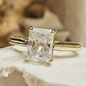 2.0 TCW Radiant Ice Crushed Moissanite Engagement Ring 14k Yellow Gold Plated