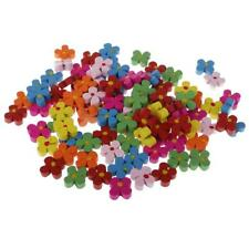 100x Wooden Plum Blossom Flower Beads for Jewelry Making Kids Beading Craft