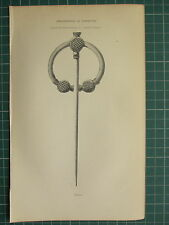 1849 PRINT ~ ARCHAEOLOGICAL SILVER FIBULA FOUND ANTRIM IRELAND