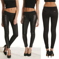WOMEN Casual Skinny Leggings Stretchy Pants High Waist PU Leather Pencil Trouser