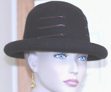 VINTAGE 1980 women's HAT brown rolled brim brown ribbon detailing around crown