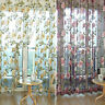 Romantic Floral Tulle Voile Door/Window Curtain Drape Panel Sheer Scarf Valance