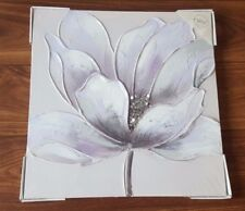 LILAC PURPLE SILVER DIAMANTE FLOWER FLORAL CANVAS WALL ART PICTURE HAND PAINTED