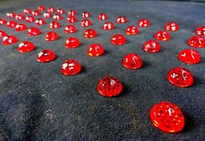 Antique Vintage (50) RARE RED Glass - CATS EYE (REFLECTOR JEWELS) NOS Faceted