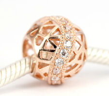 SOLID 9CT 9K ROSE GOLD FILIGREE BEAD w 22 Sparkling CZ For Charm Bracelet /Chain