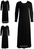 Girls Black Beaded Diamante Floral Lace Embroidery Long Maxi Dress Abaya 3-13 Y