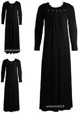 Girls Black Beaded Diamante Floral Lace Embroidery Long Maxi Dress Abaya 3-13