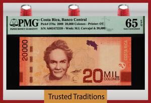 TT PK 278a 2009 COSTA RICA BANCO CENTRAL 20000 COLONES CARVAJAL PMG 65 EPQ GEM!