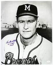 1954-55 Lou Burdette MKE Braves WS MVP 1957 Inscription Signed 16x20 Photo (JSA)