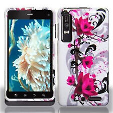 For Motorola Droid 3 Hard Protector Case Snap on Phone Cover White Purple Flower