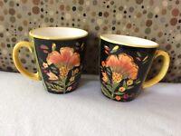 222 Fifth Arabian Flower  Floral  Set of 2 Coffee Tea Mugs Cups Nice!!