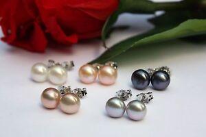 7 mm  7 Farbe Zucht Süßwasser Perlen Schmuck Ohrringe Ohrstecker 925 Silber