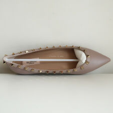 BN VALENTINO 'rockstud matte leather flats' poudre nude gold studs pointy 40