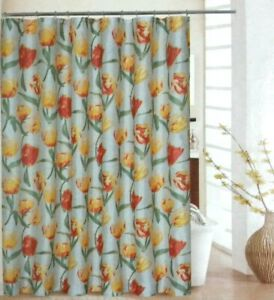 Waverly Fabric Shower Curtain Spring Floral Hooks Included 70x72