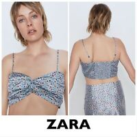 ZARA Blue Floral Print Crop Top (New With Tags) Size Small