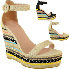 Womens Ladies Black Wedge Platforms Sandals High Heels Party Summer Shoes Size