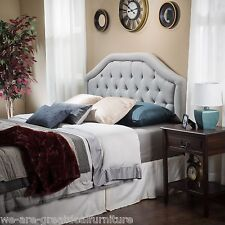 Queen to Full Sized Light Grey Fabric Headboard w/ Button Tufted Accent