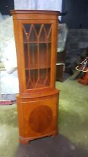Georgian Style Corner Display Unit Glass Fronted Inlay in lower Door with Key!!