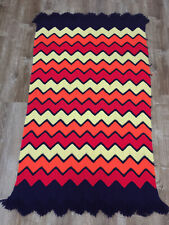 Vintage Chevron Ripple Afghan Throw Blanket Navy Yellow Orange Red 63�x35�
