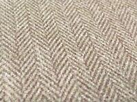 Colefax & Fowler Chenille Herringbone Upholstery Fabric- Layton / Beige F3837-01