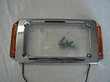 MOTORCYCLE CHROME LICENSE PLATE FRAME WITH TURN SIGNALS