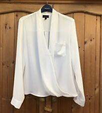 TOPSHOP * 10 * IVORY WHITE CROSS FRONT SHIRT TUNIC TOP * SMART / OFFICE BLOUSE