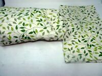 Twin Sheet Set 2 Pc Fitted Bottom and 1 Pillowcase Mainstay brand green leaves