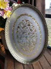 """Vintage 1 00004000 6"""" large Antique Vanity Table Centerpiece Tray Gold Color Birds flowers"""